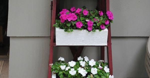 Caisse de cl mentines escabeau tag re fleurs bo tes fleurs pinterest escabeaux - Etagere a fleur ...