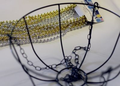 Make a Beaded Chandelier using Dollar Store Wire Plant basket and Mardi