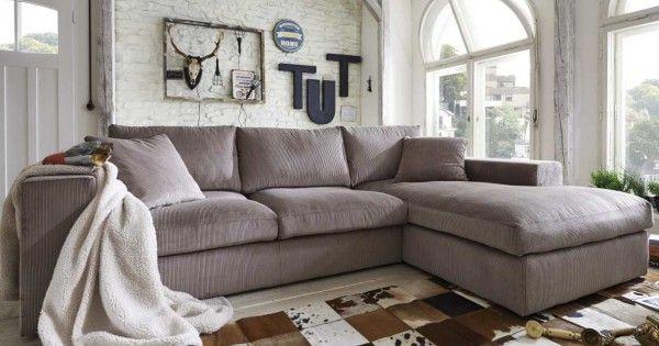 ecksofa linari mit breiter lehne ottomane und traumhaft weichem bezug aus cord dahoam. Black Bedroom Furniture Sets. Home Design Ideas