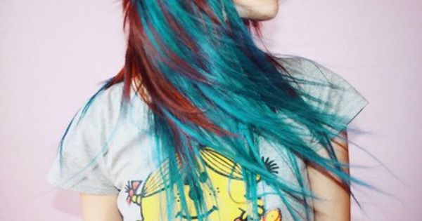 Natural Red Hair With Turquoise Streaks I Love This Look