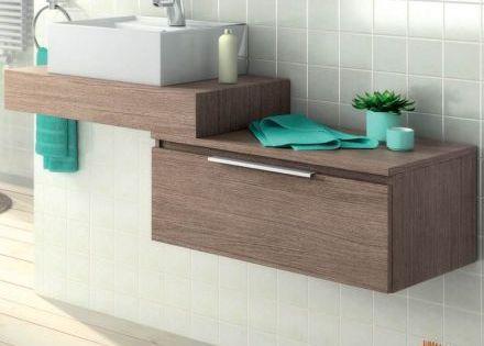 Plan vasque en bois pour salle de bain mod le suspendu for Mobilier pour salle de bain