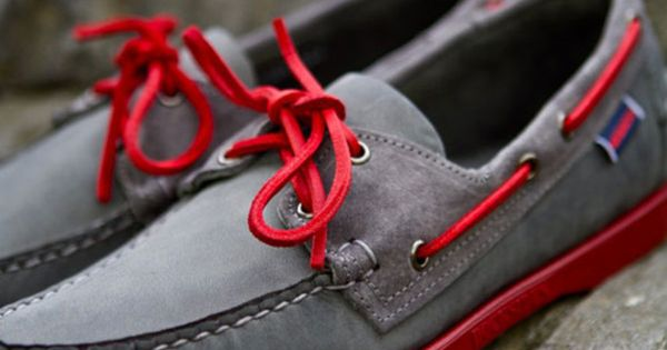 grey and with red laces ... sebago