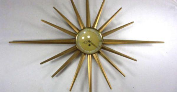 Vintage Starburst Sunburst Mid Century Eames Era Wall Clock Works Rensie Works With Images Clock Wall Clock Sunburst