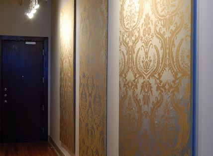 4'x8' foam insulation boards from Home Depot covered in damask fabric =