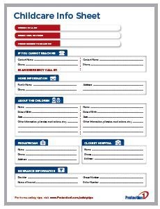 Free Babysitter Information Sheet Download Daycare Forms