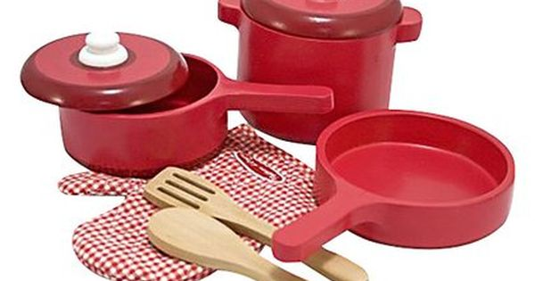 Melissa Amp Doug Wooden Kitchen Accessory Set Funky Red