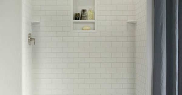 Subway Tile Shower With Built In Shelf And Corner Shelves