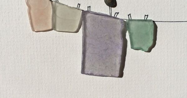 Sea glass laundry line by sharon nowlan by PebbleArt on Etsy