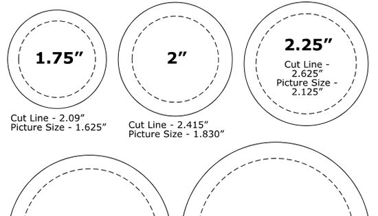 pinback button sizes template button makers buttons pinterest. Black Bedroom Furniture Sets. Home Design Ideas