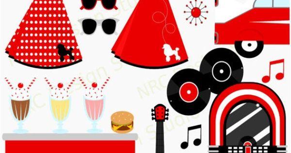 40  off sale retro clip art - rockin u0026 39  1950 u0026 39 s sock hop party clip art
