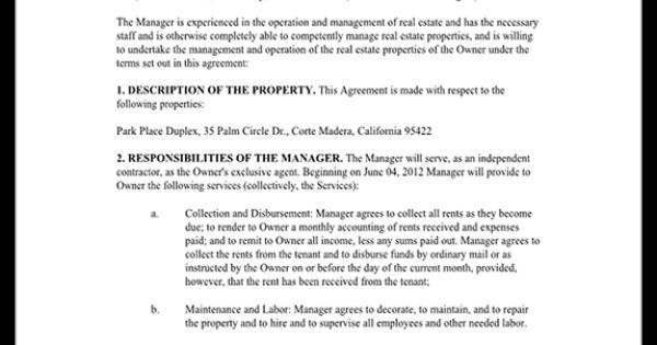 Property Management Agreement Form  Free Template With Sample