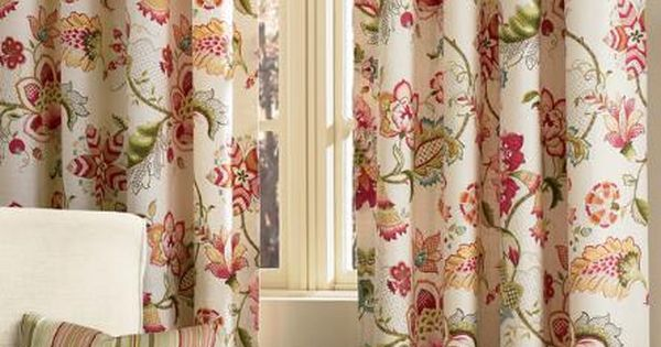 Jacobean Floral Rod Pocket With Back Tab Curtains