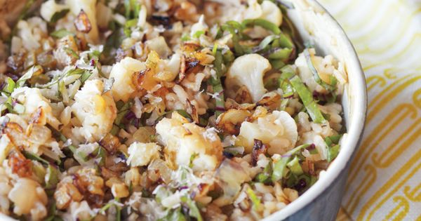 Cauliflower green onion risotto