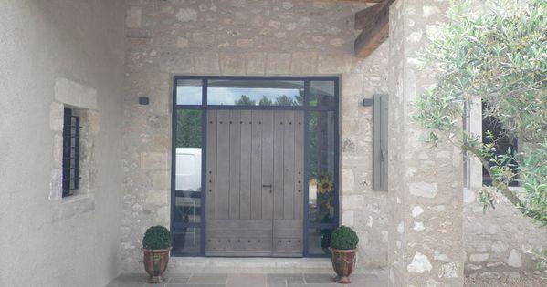 Porte d 39 entr e avec encadrement metal et verre for Encadrement de porte en bois
