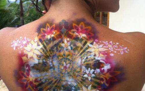 Colorful back tattoo
