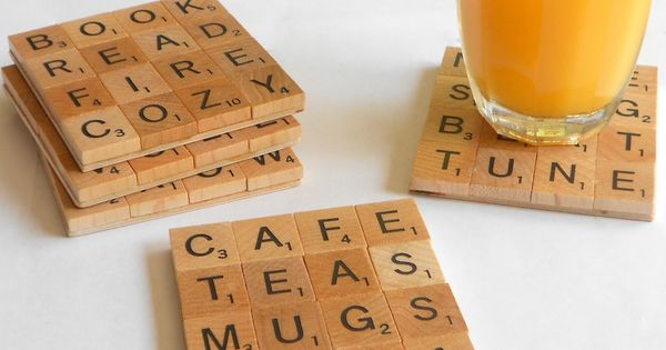 DIY Coasters made from Scrabble pieces. Except, whoever made these clearly didn't