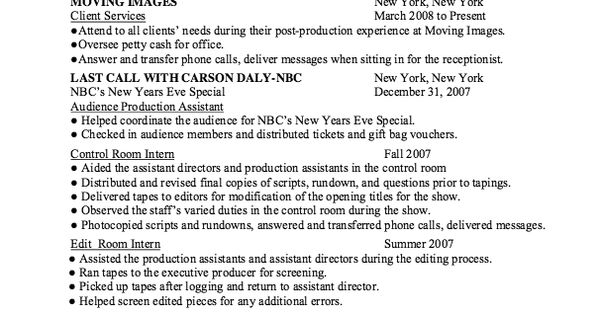 Resume Audience Production Assistant -   resumesdesign