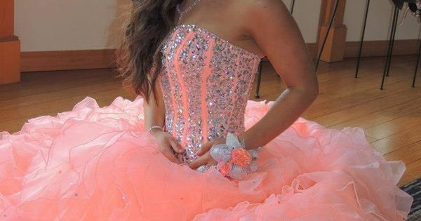 coral and crystal-organza-quinceanera-dress | Dresses | Pinterest ...