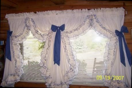 Country Ruffled Curtains Double Ruffled Curtains That Measure 100 X 63 The Ruffles Are Cream Shabby Chic Kitchen Ruffle Curtains Cottage Curtains