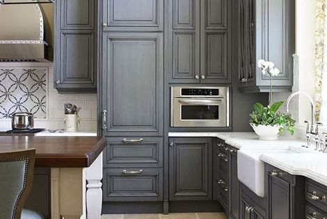 Next house!!!! Dark Grey Kitchen Cabinets