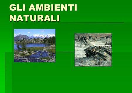 Gli Ambienti Naturali Ambiente E Naturale