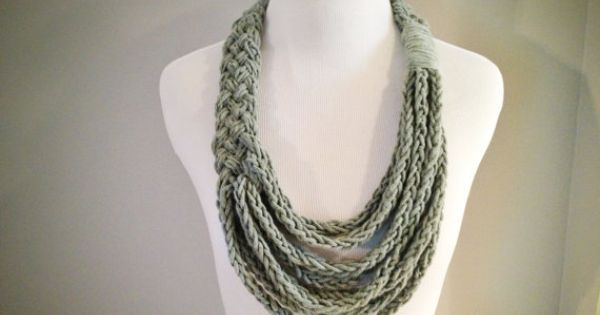 Grey Braided Asymmetrical Necklace With Finger Knit Cotton