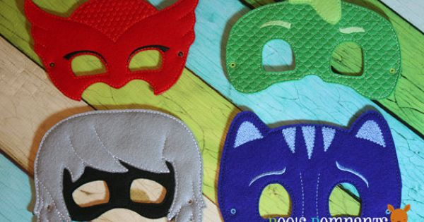 Set Of 4 Pj Masks Play Masks Cat Boy Gekko By Roosremnants