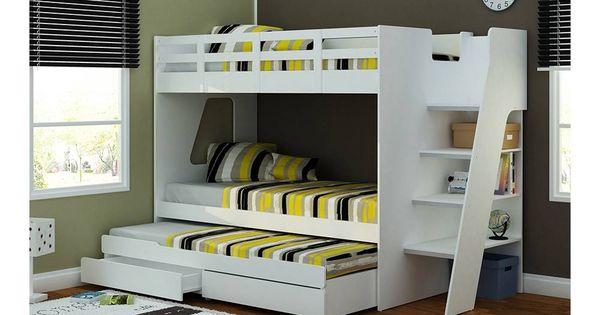 Litera con 3 camas mst cuarto invitados pinterest for Muebles para oficina walmart