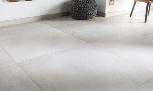 Carrelage sol et mur blanc casse effet beton time l 75 x l for Carrelage york