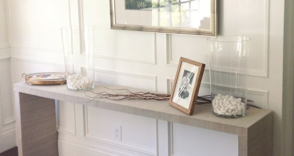 White Gold Ikea Hack Malm Table To Grasscloth Console New House Pinterest Malm Ikea