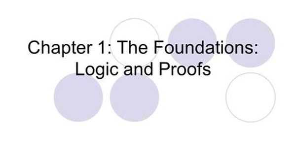 Chapter 1 The Foundations Logic And Proofs Discrete Mathematics And Its Applications Cse 211 Department Of Computer Sc Discrete Mathematics Mathematics Logic