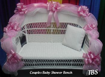 Also Considering A Couples Bench Instead Of The Traditional Chair I Saw It At The Rental Place B Baby Shower Chair Baby Shower Diy Diy Baby Shower Decorations