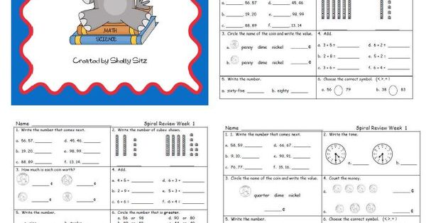 Second Grade Math Spiral reviewgreat for morning work practice – Sharon Wells Math Worksheets