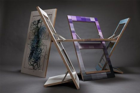 Here Is An Interesting Alternative To Spare Seating These Are Chairs That Flatten Out So You Can Paint Them As Wal Flat Pack Furniture Folding Chair Art Chair