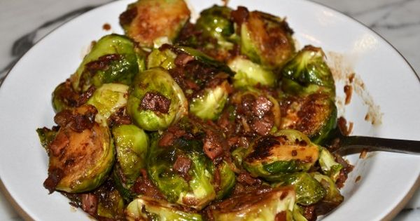 Brussels Sprouts with (Turkey) Bacon and Dates