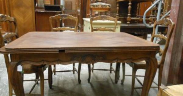 Antique French Carved Oak Parquetry Extension Dining Table