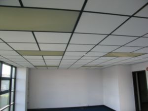 See After Picture Of Painted White Grid I Have More Painting To Do Dropped Ceiling Ceiling Grid Drop Ceiling Tiles