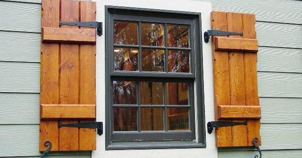 Exterior wood shutters decorative provide privacy for Vinyl shutter paint lowes