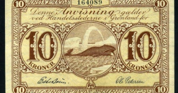 Danish Currency For Greenland 10 Krone Banknote Of 1953 Issued By The Royal Greenlandic Trade Kongelige Gronlandske Ha Greenland Bank Notes Humpback Whale