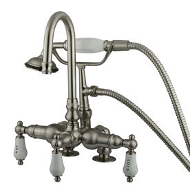 Kingston Brass Vintage Satin Nickel 3 Handle Freestanding Wall Mount Bathtub Faucet Clawfoot Tub Faucet Clawfoot Tub Tub Faucet