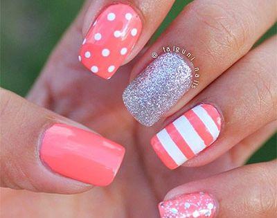 Peach, polkadots, stripes, glitter nails. Nail Art. Nail Design. Polishes. Polish. Polished.