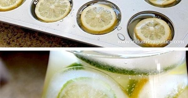 Use a cupcake tin to make fruit-filled ice cubes, then add them