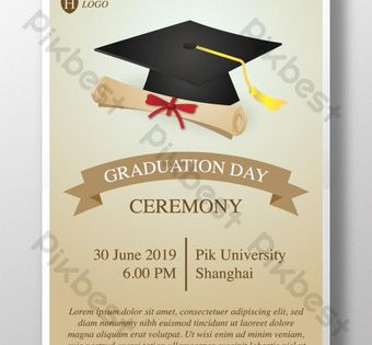 حفل تخرج قالب دعوة ملصق مع غطاء وشهادة التوضيح Pikbest Templates Poster Invitation Graduation Ceremony Invitation Template