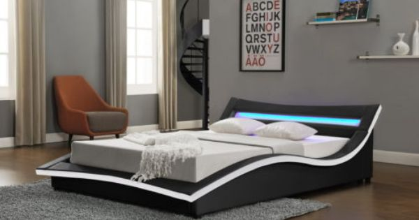 New Modern Designer Bed Led Light Headboard Double King Size Cheap