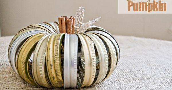 Canning Jar Lid Pumpkin craft, cute idea!