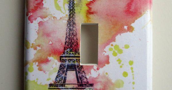 """Eiffel Tower Paris France Landscape Watercolor, Fine Art Print 8"""" X 10"""","""