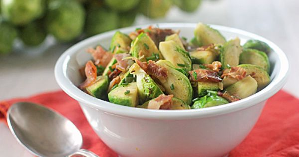The Galley Gourmet Brussel Sprouts with bacon and herbs
