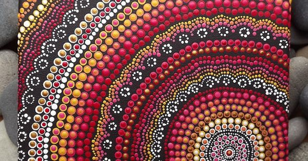 fire design aboriginal dot art acrylic painting on 20 x 20 cm stretched canvas red decor. Black Bedroom Furniture Sets. Home Design Ideas
