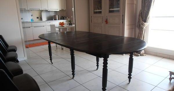 Table Louis Philippe Noir Avec Allonges Meuble Original Renovation Meuble Meuble Massif