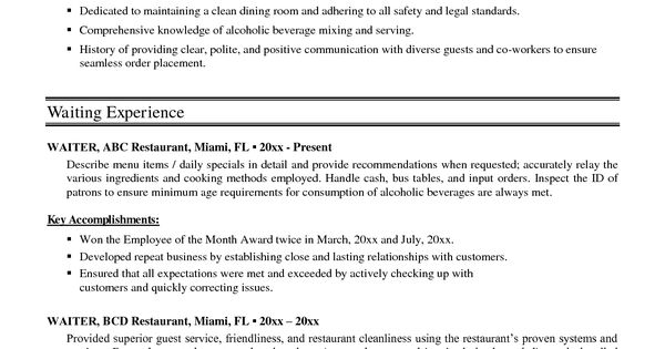 Sample Waitress Resume Examples